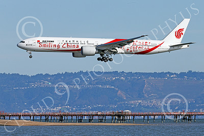 B777P 00474 A semi-rare color scheme Boeing 777 Air China SMILING CHINA B-2035 on final approach to land at SFO 12-2014 airliner picture by Peter J Mancus