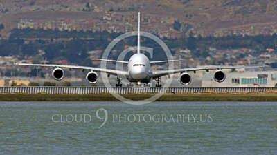 A380 00159 A head-on view of an Air France Airbus A380 at SFO, airliner picture, by Peter J Mancus