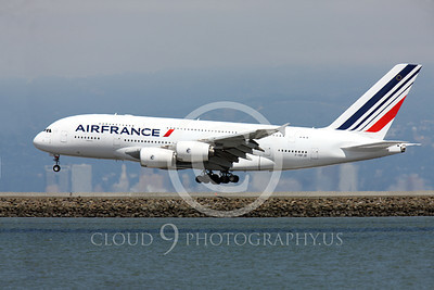 A380 00228 Air France Airbus A380 F-HPJB landing at SFO, airliner picture, by Peter J Mancus
