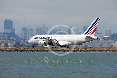 A380 00149 An Air France Airbus A380 rolling out after landing at SFO, airliner picture, by Peter J Mancus
