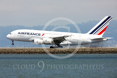 A380 00025 Air France Airbus A380 F-HPJB touches down at SFO, airliner picture, by Peter J Mancus
