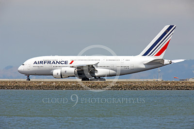A380 00079 Air France Airbus A380 F-HPJB on roll out at SFO, airliner picture, by Peter J Mancus