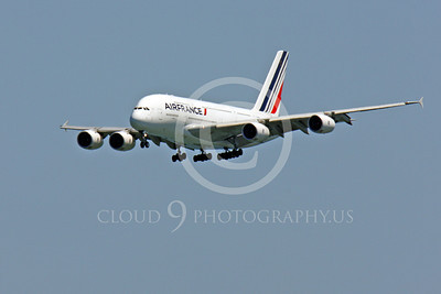 A380 00066 A flying Air France Airbus A380 on final approach to land, airliner picture, by Peter J Mancus