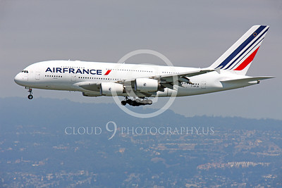A380 00106 Air France Airbus A380 F-HPJB about to land at SFO, airliner picture, by Peter J Mancus