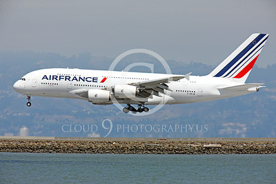 A380 00112 Air France Airbus A380 F-HPJB landing at SFO, airliner picture, by Peter J Mancus