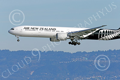 B777P 00464 Close up of the nose of a semi-rare color scheme Boeing 777 Air New Zealand on final approach to land at SFO 12-2014 airliner picture by Peter J Mancus