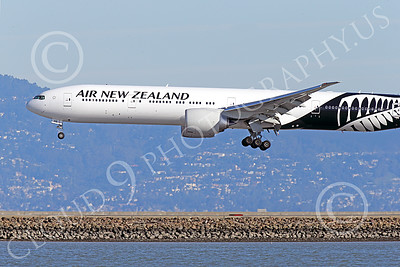 B777P 00466 Close up of the nose of a semi-rare color scheme Boeing 777 Air New Zealand on final approach to land at SFO 12-2014 airliner picture by Peter J Mancus
