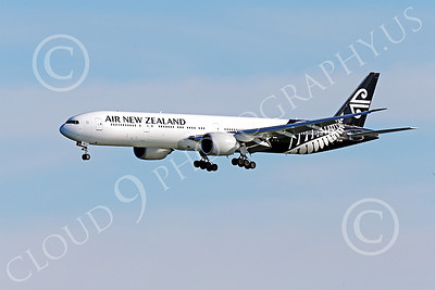 B777P 00462 A semi-rare color scheme Boeing 777 Air New Zealand on final approach to land at SFO 12-2014 airliner picture by Peter J Mancus