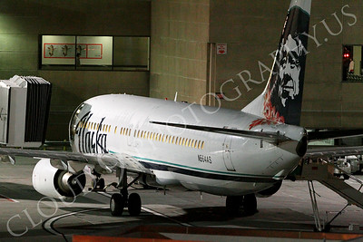 B737 00091 Alaska Airline Boeing 737 N564AS static at a gate at night at LAX airline picture, by Peter J Mancus