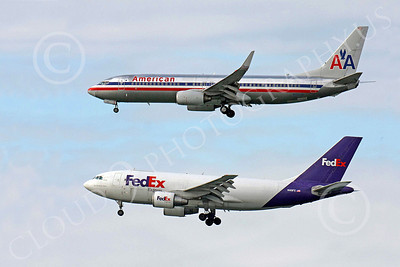 B737 00098 American Airlines Boeing 737 N956AN anding side by side with FedEx Airbus A310 N419FE, by Carl E Porter