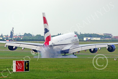 A380 00083 A landing British Airways A380 F-WWSK super jumble jet airliner Paris Air Show 2013 airliner picture by Stephen W D Wolf