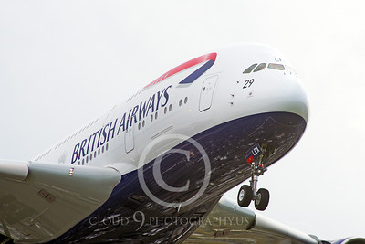 A380 00084 Close up of the nose of a landing British Airways A380 super jumblejet airliner 2013 airliner picture by Stephen W D Wolf