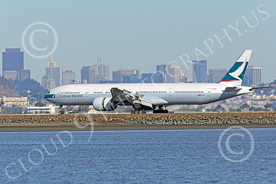 B777P 00499 A Boeing 777 Cathay Pacific Airline B-KQP rolls out after landing at SFO 12-2014 airliner picture by Peter J Mancus