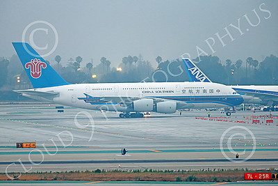 A380 00057 A taxing Airbus A380 China Southern B-6140 at LAX 7-2013 jet airliner picture by Peter J Mancus