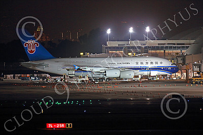 A380 00071 A static China Southern A380 B-6140 at a passenger gate at LAX at night 7-2013 jet airliner picture by Peter J Mancus