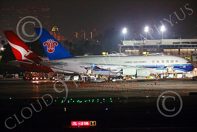 A380 00023 A static Airbus A380 China Southern B-6140 at LAX at night jet airliner picture by Peter J Mancus