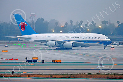 A380 00037 A taxing Airbus A380 China Southern B-6140 at LAX 7-2013 jet airliner picture by Peter J Mancus