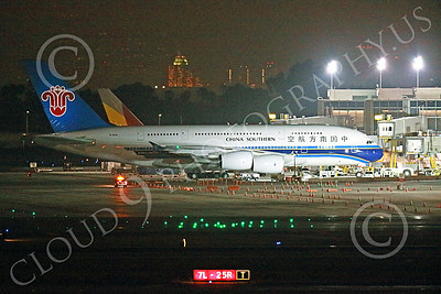 A380 00039 A China Southern A380 is towed to a passenger gate at LAX at night 7-2013 jet airliner picture by Peter J Mancus