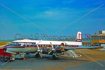 """DC-7 001 A static Douglas DC-7B, Delta Airline """"Golden Crown DC-7B"""", four piston engines airliner picture, 1960, by Clay Janson  Dt"""