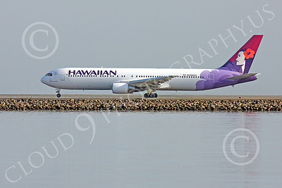 B767 00373 A left side, clutter free, view of Hawaiian Airline Boeing 767, N596HA, during its take-off roll at SFO, under an over cast sky, airliner picture, by Peter J Mancus