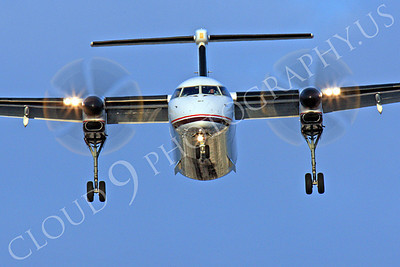 FFAL 00025 A head-on Horizon Air Bombardier Dash 8 Series 400 landing airliner picture, by Peter J Mancus