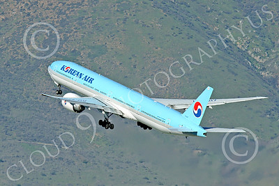 B777P 00502 A Boeing 777 Korean Air climbs out after taking off at SFO 12-2014 airliner picture by Peter J Mancus
