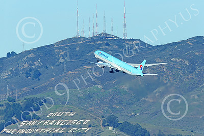 B777P 00504 A Boeing 777 Korean Air climbs out after taking off at SFO 12-2014 airliner picture by Peter J Mancus