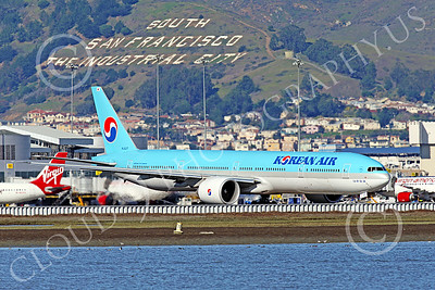 B777P 00517 A Boeing 777 Korean Air Airline HL8217 taxis at SFO 12-2014 airliner picture by Peter J Mancus