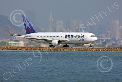 B767 00035 A LAN Airline One World Boeing 767 with winglets taxis at SFO with San Francisco in the background, airliner picture, by Peter J Mancus
