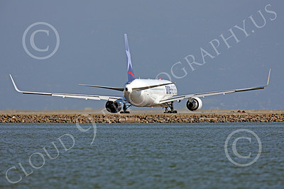 B767 00412 A LAN Airline One World Boeing 767 with winglets taxis at SFO, airliner picture, by Peter J Mancus