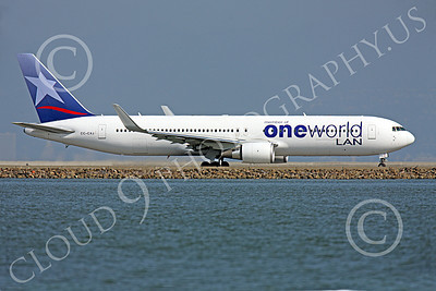 B767 00231 A LAN Airline One World Boeing 767, CC-CXJ, with winglets taxis at SFO, airliner picture, by Peter J Mancus