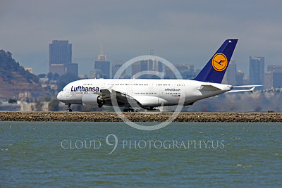 A380 00151 Lufthansa Airbus A380 D-AIMA taking off at SFO, airliner picture, by Peter J Mancus