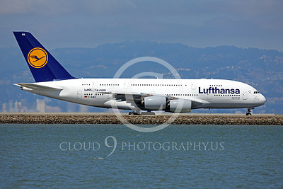 A380 00133 Lufthansa Airbus A380 D-AIMA taxing at SFO, airliner picture, by Peter J Mancus