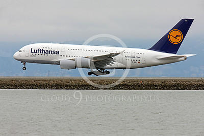 A380 00124 Lufthansa Airbus A380 D-AIMA seen landing at SFO, airliner picture, by Peter J Mancus