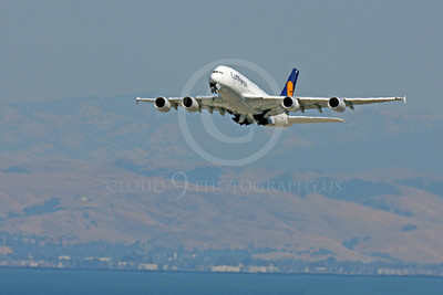 A380 00072 Lufthansa Airbus A380 D-AIMB climbs for altitude after taking off from SFO, airliner picture, by Peter J Mancus