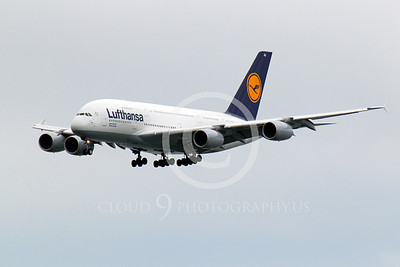 A380 00102 A Lufthansa Airbus A380 on final approach to land, airliner picture, by Peter J Mancus