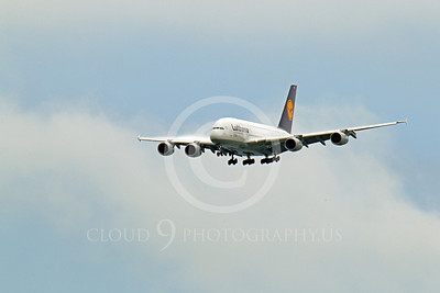 A380 00054 A flying Lufthansa Airbus A380 D-AIMB airliner picture, by Peter J Mancus