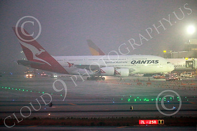 A380 00029 An Airbus A380 Qantas is towed to a gate amidst ground fog at LAX at night 7-2013 jet airliner picture by Peter J Mancus