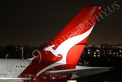 A380 00015 Close up of the tail of a Qantas Airbus A380, VH-0QF, at night at LAX, airliner picture, by Peter J Mancus