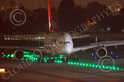 A380 00027 A tight crop of a taxing Airbus A380 Qantas at LAX at night jet airliner picture by Peter J Mancus