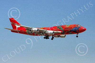 B747 00112 Qantas Airline's Boeing 747 VH-OEJ in colorful Wunala Dreaming markings on final approach to land airliner picture, by Tim Perkins