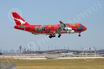 B747 00280 Qantas Airline's Boeing 747 VH-OEJ in colorful Wunala Dreaming markings on final approach to land airliner picture, by Tim Perkins