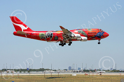 B747 00206 Qantas Airline's Boeing 747 VH-OEJ in colorful Wunala Dreaming markings on final approach to land airliner picture, by Tim Perkins
