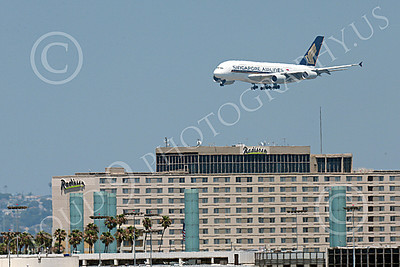 A380 00076 An Airbus A380 Singapore Airline on final approach to land at LAX 7-2013 jet airliner picture by Peter J Mancus