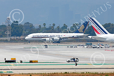 A380 00049 An Airbus A380 Singapore Airline rolls out after landing at LAX 7-2013  jet airliner picture by Peter J Mancus