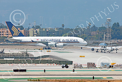 A380 00059 An Airbus A380 Singapore Airline taxis to a passenger gate after landing at LAX 7-2013 jet airliner picture by Peter J Mancus
