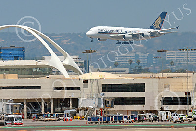 A380 00262 An Airbus A380 Singapore Airline on final approach to land at LAX 7-2013 jet airliner picture by Peter J Mancus