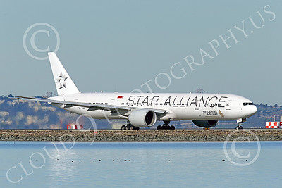 B777P 00493 A Boeing 777 Singapore Airline STAR ALLIANCE 9V-SWJ taxis at SFO 12-2014 airliner picture by Peter J Mancus