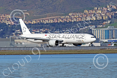 B777P 00487 A Boeing 777 Singapore Airline STAR ALLIANCE 9V-SWJ taxis at SFO 12-2014 airliner picture by Peter J Mancus