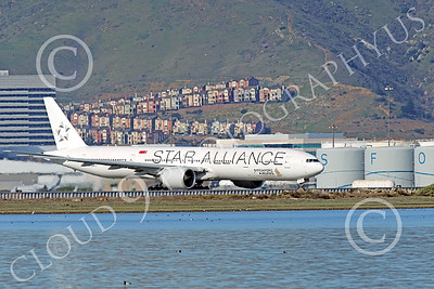 B777P 00489 A Boeing 777 Singapore Airline STAR ALLIANCE 9V-SWJ taxis at SFO 12-2014 airliner picture by Peter J Mancus